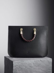 Black Illicia Tote Bag with black, oxblood and kale woven handles, illicia