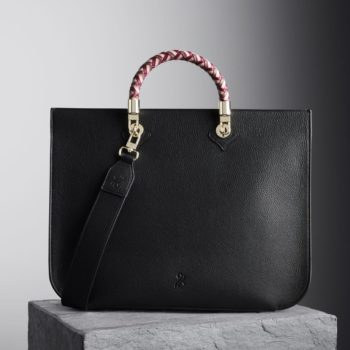 Black Illicia Tote Bag with oxblood, nude and Brownrose woven handles, illicia