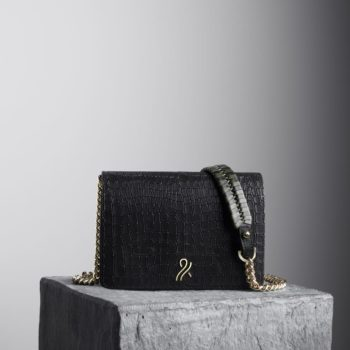 Black Mee Chain Bag with black and kale shoulder strap, illicia