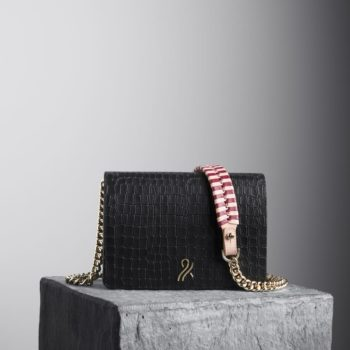 Black Mee Chain Bag with nude and oxblood braided shoulder strap, illicia