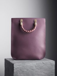 Blackberry Sophia Tote Bag with oxblood, nude and oxblood handles, illicia