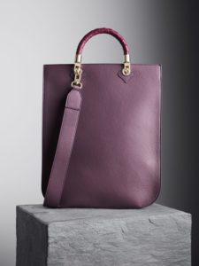 Blackberry Sophia Tote Bag with oxblood woven handles, illicia