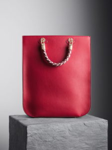 Cardinal Red Sophia Tote Bag with oxblood, nude and brownstone woven handles, illicia