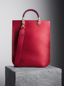 Cardinal Red Sophia Tote Bag with oxblood woven handles, illicia
