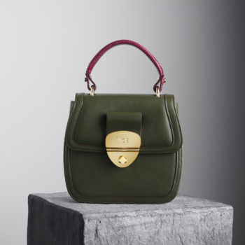 Green leather top handle bag with red handle - illicia
