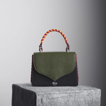 Kale Green and Black Celina 2.0 Top Handle Bag with orange and oxblood red braided handle,