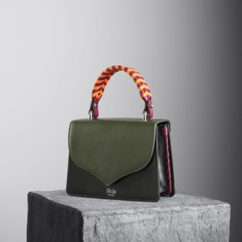 Kale and Black Celina 2.0 Top Handle Bag with orange and oxblood braided handle, illicia