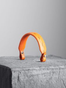 Orange braided round strip handle, illicia