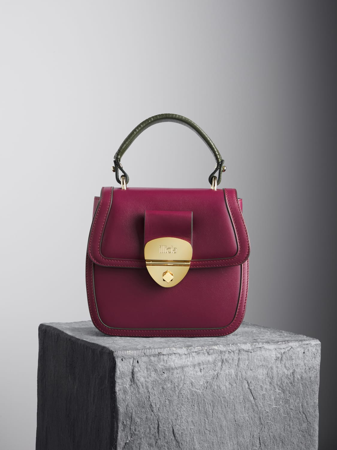 Oxblood Grace Top Handle Bag with kale braided handle, illicia