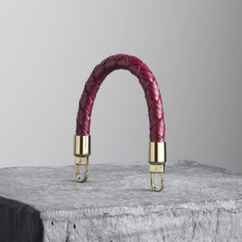 oxblood red woven leather handbag handle - illicia