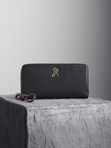 Black Nappa Leather Wallet with black and oxblood woven puller illicia