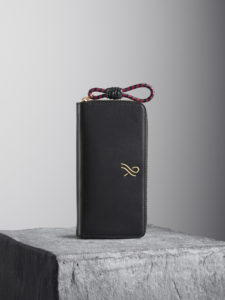 Black Nappa leather wallet wth black and red puller