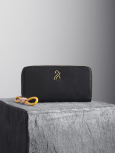 Black leather wallet with nude and Yellow puller