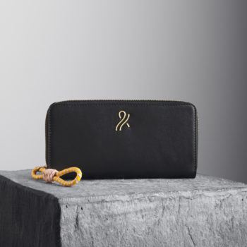 Black Nappa leather wallet with woven puller - Illicia