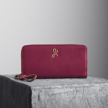 Oxblood Nappa Leather Wallet with oxblood and kale woven puller llicia