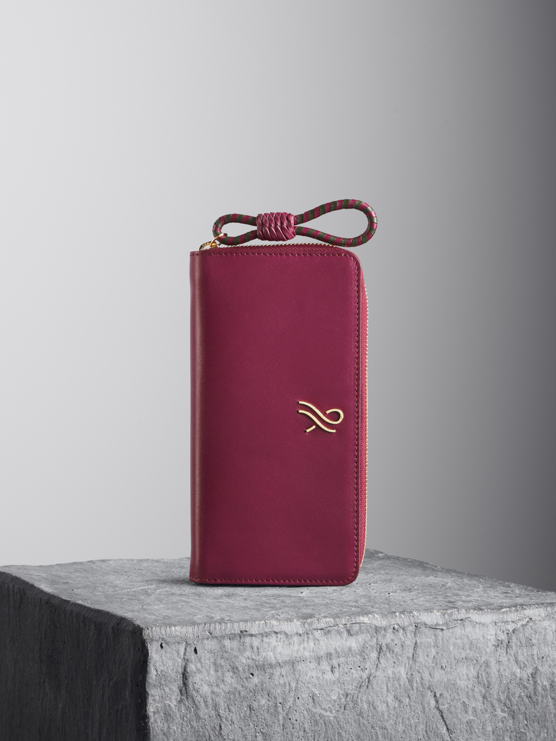 Oxblood Leather Wallet with oxblood and kale woven puller Illicia