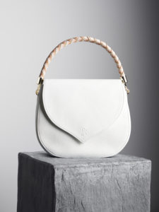 Celina White Leather Shoulder Handbag With Interchangeable Woven Handles