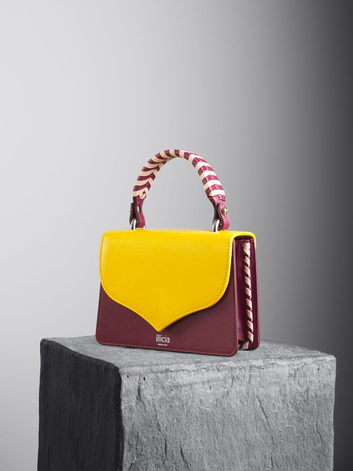 Yellow and Oxblood Celina 2.0 Top Handle Bag with oxblood and nude braided handle, illicia