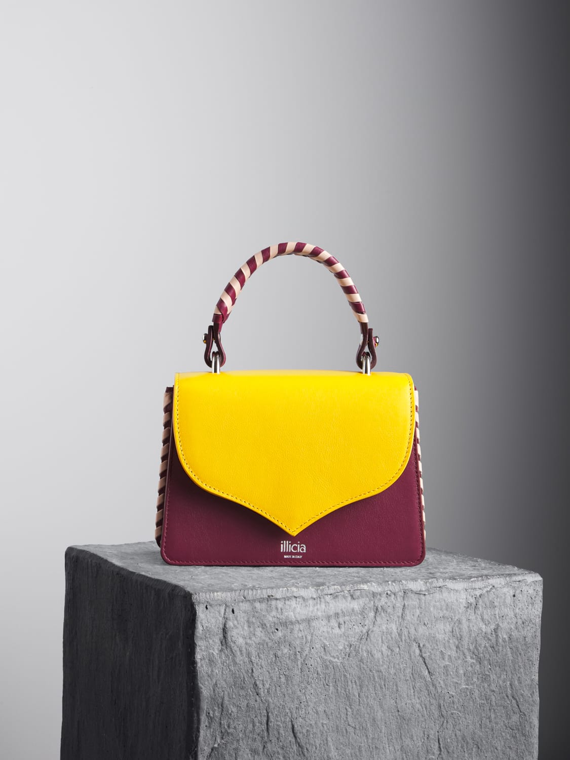 Celina 2.0 Yellow and Oxblood Top Handle Bag with oxblood and nude braided handle,